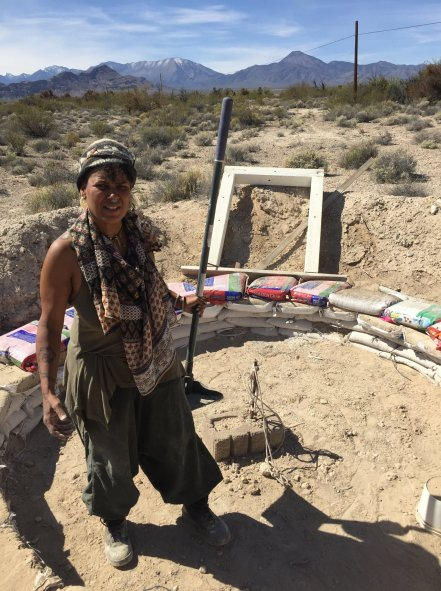 Earthsong 2018 Sekhmet Temple, Cactus Springs NV. cement and dirt brick making for the temple